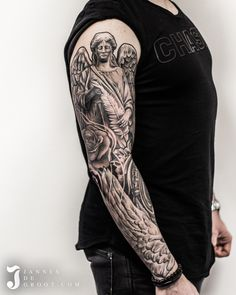 Realistic Angel Statue Wing Rose Sleeve Tattoo - Jannes de Groot Tattoo Rose Sleeve, Angel Statues, Sleeve Tattoos, Photo And Video, Instagram, Tattoo Sleeves, Arm Tattoo, Arm Tattoos, Shoulder Sleeve Tattoos