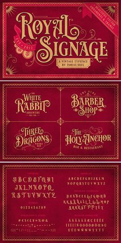 Royal Signage is a font inspired by beautiful vintage sign art and lettering. The font comes with special uppercase letters and 38 alternate characters to give Typography Poster Design, Typography Letters, Lettering Design, Hand Lettering Fonts, Graffiti Lettering, Cursive Fonts, Penmanship, Best Script Fonts, Vintage Fonts