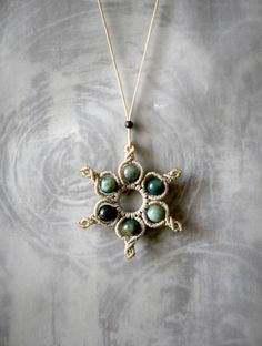 macrame necklace/agate gemstones/symmetry design/handmade jewelry by EnjoyITcrafts on Etsy Macrame Necklace, Pendant Necklace, Symmetry Design, Macrame Knots, Agate Gemstone, Wax, Handmade Jewelry, Gemstones, Beads