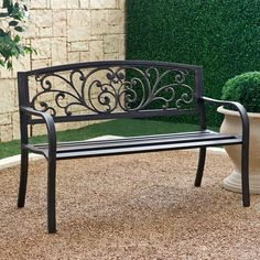Outdoor Bench Patio Chair Red Garden Furniture Backyard Deck Park Porch Seat for sale online Metal Patio Chairs, Metal Garden Benches, Outdoor Garden Bench, Patio Bench, Outdoor Decor, Outdoor Benches, Bench Cushions, Bench Swing, Dining Chairs