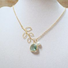 Leaves green Lariat Necklace Bridesmaid Gift Wedding by ellejewels