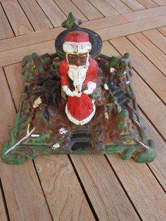 vintage christmas tree stand german cast iron santa claus christmas tree stand - Decorative Christmas Tree Stands