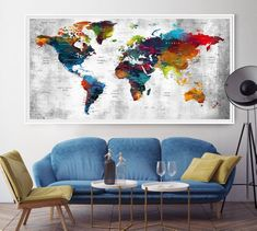 World Map Large World Map Art Print Art Painting Etsy world map wall art - Wall Art Color World Map, World Map Wall Art, Art World, Large Framed Wall Art, Extra Large Wall Art, Map Wall Decor, Antique World Map, Wall Art For Sale, Wood Wall Art