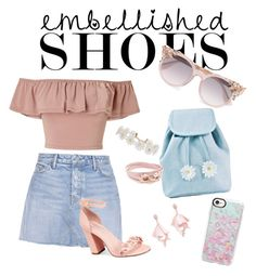 """""""Embellished Shoes 👠"""" by aschultz22 ❤ liked on Polyvore featuring Miss Selfridge, GRLFRND, Avec Les Filles, Sugarbaby, Casetify, Jimmy Choo, Humble Chic, Oscar de la Renta Pink Label and Salvatore Ferragamo"""