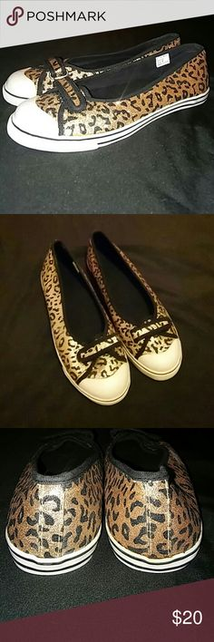 Gold Glitter Leopard Print Flats Barely worn - maybe 1 or 2 times. These sparkly, glittery gold flats are for anyone's inner diva and will DEFINITELY grab attention! Also great for anyone that loves leopard print. And one of the biggest pluses? They're really comfortable! Shoes Flats & Loafers