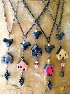 Miss Mustard Raku House Artisan Ceramic Bead Crow Pumpkin Primitive Necklace