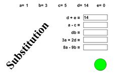 """Students quiz themselves to see how well they understand how to substitute values in equations with the activity, """"Substitution."""""""