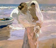 """Just Out of the Sea"" by Joaquin Sorolla, Spanish painter who captured the people & the landscape beneath the sun of his native land, 1863-1923"