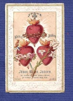 JESUS MARY JOSEPH. Old HOLY CARD embossed w/die cut Scrap 3 HEARTS Dopter FRANCE #HolyCard