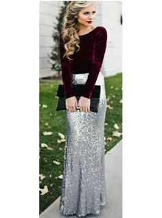 This long sequin skirt is beautiful! These holiday outfits are perfect for your next party! Whether you're searching for office holiday party outfits or cute Christmas dresses, try these out! Diy Vetement, Sequin Maxi, Long Sequin Skirt, Sequin Outfit, Looks Chic, Outfit Trends, Mode Hijab, Mode Inspiration, Wedding Inspiration