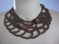 Fall Fashion Brown Crochet Necklace Crochet Jewelry by levintovich