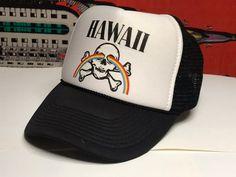 Vintage Hawaii Trucker Hat / Rainbow Skull Retro Baseball Cap / Unisex White & Black Mesh SnapBack Hat / Mens Hawaiian Souvenir Tourist Hat Tourist Hat, Vintage Hawaii, Snap Backs, Bold Prints, Pastel Goth, Black Mesh, Snapback Hats, Baseball Cap, Hawaiian