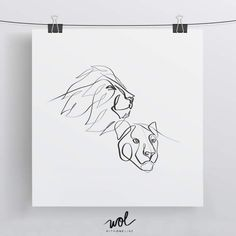 Minimal Lion and Lioness Art - One Line Drawing by WithOneLine