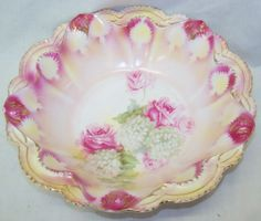 RS Prussia Rose Floral Gold Accent Bowl