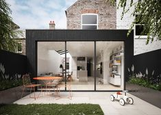 House Extension Design, Glass Extension, Rear Extension, Extension Designs, House Design, Black Cladding, Timber Cladding, Architecture Design, Victorian Terrace