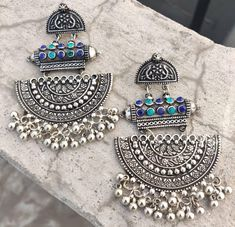 Antique Silver jewelry Outfit - - Silver jewelry Handmade Men - - Silver jewelry Videos Inspiration - Silver jewelry For Prom Necklaces Indian Jewelry Earrings, Fancy Jewellery, Silver Jewellery Indian, Jewelry Design Earrings, Stylish Jewelry, Fashion Earrings, Jewelery, Silver Jewelry, Silver Ring