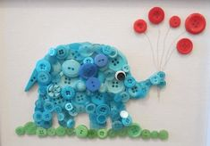 Decorate your room with a bit of sweetness when you frame your Button Elephant. If you don't want to spend a lot of money, count on free animal crafts for children to make, and you'll still get spectacular results. Button crafts are great. Kids Crafts, Animal Crafts For Kids, Projects For Kids, Diy And Crafts, Button Art, Button Crafts, Decorate Your Room, Little Ones, Embellishments