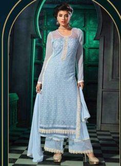 Light Blue Embroidery Work 60 Gram Georgette Palazzo Salwar  Suit http://www.angelnx.com/Salwar-Kameez/Pakistani-Suits