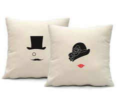 Mr and Mrs Pillow Cover  - 16x16 square - set of 2 for His and Her- screen print on cotton pillow cover