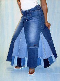 Denim Fan Skirt