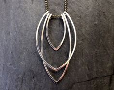 Gold Geometric Hammered Arcade Necklace by LoopHandmadeJewelry