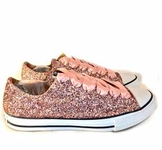 12d1b7af48a7 Women s Sparkly Rose Gold Pink Glitter Converse All Stars Bride Wedding  Shoes sneakers