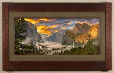 Radiant Yosemite Valley - The first in the National Parks series. One of my favorite locations to visit. - Arts & Crafts - Craftsman - Bungalow - Keith Rust Illustration Framed Giclée Prints Radiant-Yosemite-Valley-Seaweed-Xsml.png