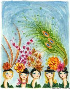 Feather Hats - Bella Pilar...Look like Kentucky Derby Hats! ♥