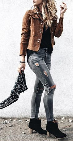 #fall #fashion ·  Destroyed Jeans + Ankle Boots + Brown Jacket