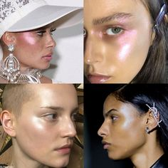 Makeup Trend for Spring 2017: Highlighted Strobed Cheeks up to Temples.
