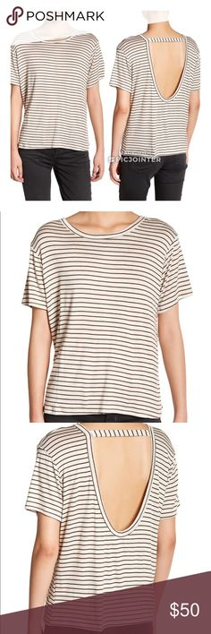 "C & C California Kyra Relaxed Striped Tee XS New. Size XS. Oatmeal / Olive stripe.  Nautical stripes look classic on a knit crew tee with a playful oversized back cutout. - Scoop neck - Short sleeves - Back cutout - Stripe throughout - Approx. 22.5"" length (size S) - Imported  Fiber Content 95% rayon, 5% spandex  Care Machine wash cold C&C California Tops Tees - Short Sleeve"