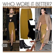 """""""Who Wore It Better?Gigi Hadid or Kim Kardashian in A.L.C.pinned slit skirt"""" by kusja ❤ liked on Polyvore featuring A.L.C., Stuart Weitzman, Etro, women's clothing, women's fashion, women, female, woman, misses and juniors"""