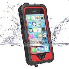 iPhone5s ケース iphone SE ケース ZVE 防水ケース アイフォン5sケース 多機能スマホケース 防塵 耐衝撃カバー 指紋認識可 液晶保護フィルム付き 新型(iphoneSE/5S/5 レッド)