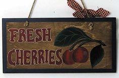 Retro Vintage Primitive Country Kitchen Wood Sign Cherry Cherries Asst Signs | eBay