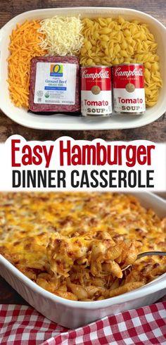 Easy Hamburger Casserole Recipe (4 Ingredients) - Instrupix Easy Hamburger Casserole, Easy Casserole Dishes, Easy Hamburger Meals, Beef Casserole, Easy Dinner Recipes, Easy Meals, Dinner Ideas, Supper Recipes, Easy Recipes