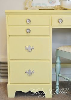 Yellow Sewing Desk Makeover for under $4