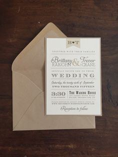 Vintage Wedding Invitations // Neutral Tones  Custom wedding invitation with RSVP card.  Add ons include thank you cards, rehearsal dinner invitations, menus, place cards, table numbers, and programs.  Invitations can be customized with envelope addressing, envelope liners, burlap, twine, and bellybands.