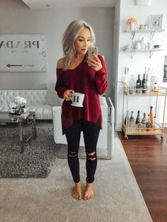 love this outfit. off the shoulder sweater with distressed black jeans