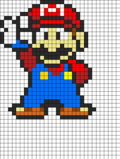 Mario Perler patterns - I could convert this design into crochet.... Hmmm.