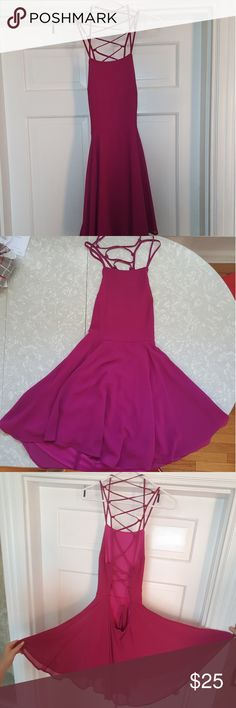 💓 fushcia open back dress 💓 Beautiful open back,  lace up dress. Zipper starts a few inches above the small of your back . Never has been worn, size medium . Lulu's Dresses
