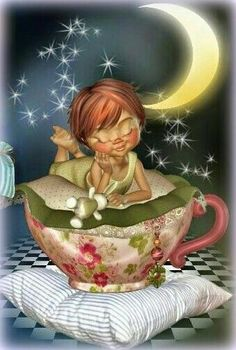 Nighty Night, sweet dreams my friend x Good Night Moon, Good Morning Good Night, Nighty Night, Draw On Photos, Sun And Stars, Baby Fairy, Little Designs, Fairy Dolls, Cute Dolls