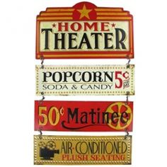Cinema-themed Home Theater Linked Embossed Tin Sign has a nostalgic, vintage charm
