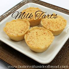 Milk Tarts ~ these delightful and creamy tarts are perfect topped with fresh fruit! Butter with a Side of Bread (eid food desserts) Easy Desserts, Delicious Desserts, Dessert Recipes, Yummy Food, Custard Desserts, Tart Recipes, Sweet Recipes, Baking Recipes, Baking Ideas
