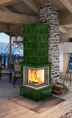 The CLASSICO RENAISSANCE ECK in bottle green is the new classic small stove of Seyffarth ceramics, with even more fun by the fire, thanks to the large window. The upper half of the tiled stove is covered with a tile style from the Renaissance. Small, Large Windows, Style Tile, Hearth, Small Stove, Beautiful Kitchens, Fireplace, Small Tiles, Home Decor Furniture