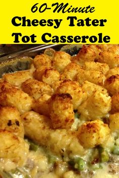How to Make Cheesy Tater Tot Casserole in 60 Minutes - http://www.thebudgetdiet.com/how-to-make-cheesy-tater-tot-casserole-in-60-minutes?utm_content=snap_default&utm_medium=social&utm_source=Pinterest.com&utm_campaign=snap