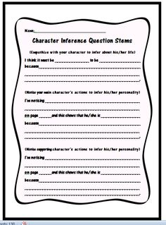 FREE Character Inference Question Stems Use these FREE question stems to help your students make inferences, and cite evidence, about the character's personalities in their independent reading books. Can be used on sticky notes for students to mark durin Reading Strategies, Reading Skills, Teaching Reading, Reading Books, Guided Reading, Reading Comprehension, Learning, Teaching Ideas, Readers Notebook