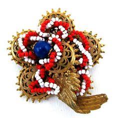 4c85e756c1f6 Miriam Haskell Patriotic Seed Bead Brooch http   www.rubylane.com