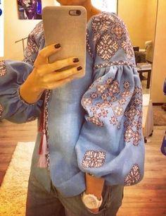 Ukrainian Vyshyvanka in boho fashion style with beautiful modern embroidery patt...