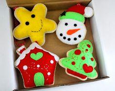 Felt Christmas Ornament  Set Magic BOX- Star, snowman, ginger bread house and Christmas Tree Ornament  (SET C) A829