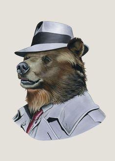 Grizzly Bear animal art print by Ryan Berkley 5x7 - $10.00